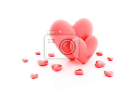 Fototapeta Group of red hearts