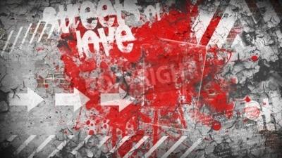 Fototapeta Grunge kolorowe tło. Ulica miłości