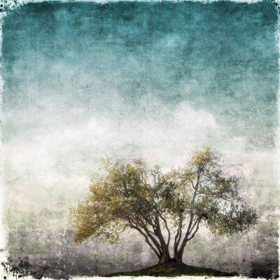 Fototapeta Grunge krajobraz z jednego drzewa