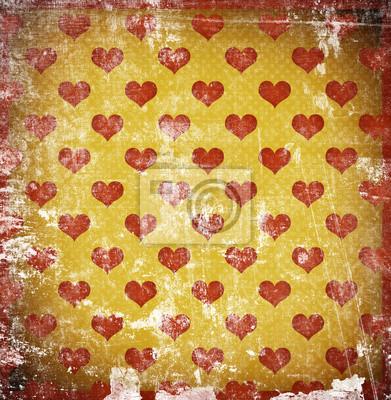 Fototapeta grunge tle retro z serc