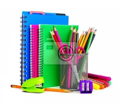 243b60a535661 Grupa kolorowe zeszyty i przybory szkolne Fototapeta • Fototapety ...