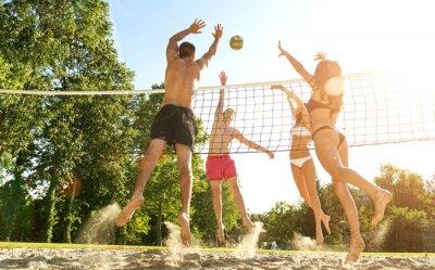 Fototapeta Grupa młodych przyjaciół grając w siatkówkę na plaży
