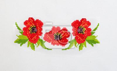 Nowoczesna architektura Haftowane wzory haftu krzyżykowego kwiaty na płótnie Fototapeta CI24
