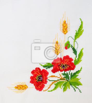 Oryginał Haftowane wzory haftu krzyżykowego kwiaty na płótnie Fototapeta AS86