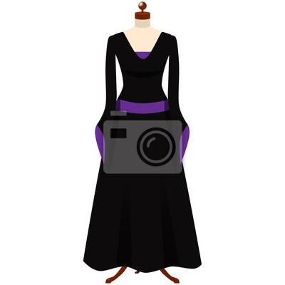 c1f32948 Fototapeta: Halloween czarownica kostium. czarno-fioletowa sukienka  gotyckim.