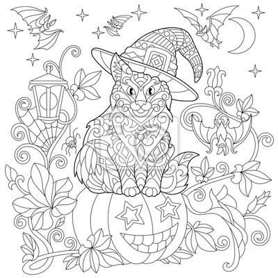 Halloween Kolorowanka Kot W Kapeluszu Halloween Dynia Latające