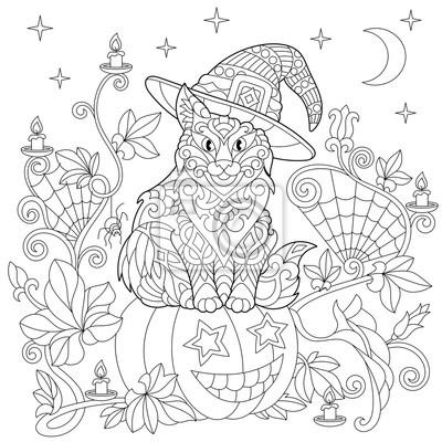 Halloween Kolorowanka Kot W Kapeluszu Halloween Dynia Pajęczyna