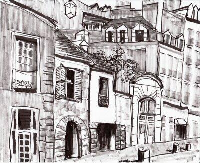 Fototapeta hand draw paris building