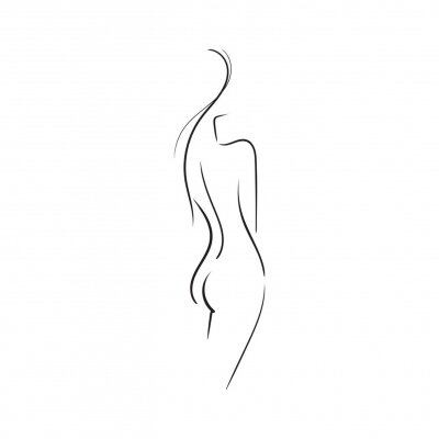 Fototapeta Hand-drawn Beautiful nude  young woman isolated on white background.Line illustration.Beauty Logo.Stock vector illustration.