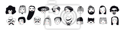 Fototapeta Hand drawn doodle set of people faces. Perfect for social media, avatars. Portraits of various men and women. Trendy black and white icons collection. Vector illustration. All elements are isolated