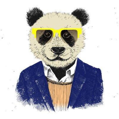Fototapeta Hand drawn dressed up hipster panda