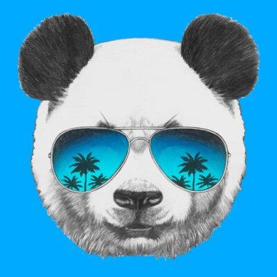 Fototapeta Hand drawn portrait of Panda with mirror sunglasses. Vector isolated elements