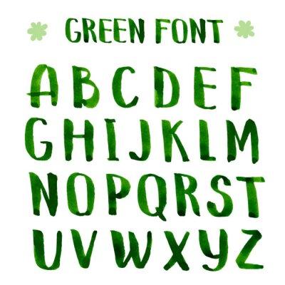 Fototapeta Handmade ink green alphabet.