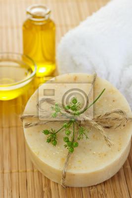 Fototapeta Handmade, mydło, ręcznik i oleju