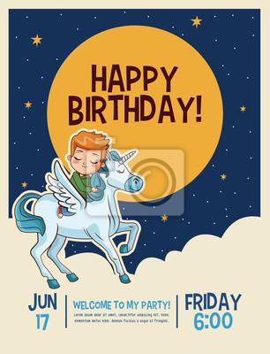 Fototapeta Happy Birthday Invitation Card Moond And Clouds Vector Illustration