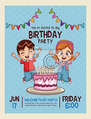 Fototapeta Happy Birthday Invitation Kids Card Vector Illustration Graphic