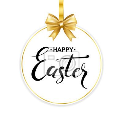Fototapeta Happy Easter Odręcznie Kaligrafia Litery Na Ramce Z Złota łuk