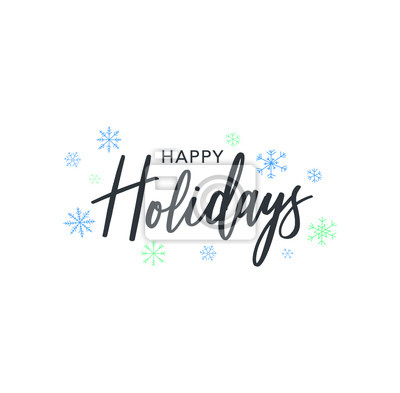 Fototapeta Happy Holidays Calligraphy Vector Text With Hand Drawn Blue Winter Snowflakes Over White Background