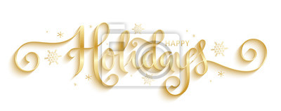 Fototapeta HAPPY HOLIDAYS gold vector brush calligraphy banner with snowflakes