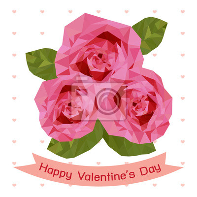 Fototapeta Happy valentine's day with pink rose card