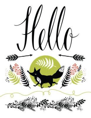 Fototapeta Hello postcard cover design. Happy fox and forest herbs, arrows