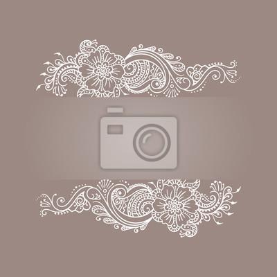 Henna Mehndi Kwiatowy Ornament Tatuaż Biały Vintage Ramki Banner