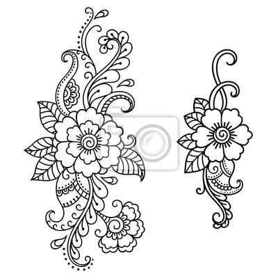 Fototapeta Henna Tatuaż Kwiat Szablonu Mehndi Styledecorative Wzór W Stylu