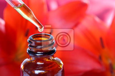 Fototapeta Herbal Medicine Dropper Bottle z kwiatami