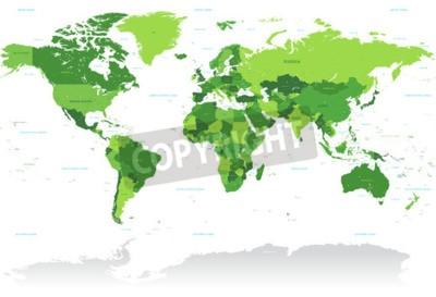Fototapeta High Detail wektora Mapa świata w odcieniach zieleni. Wszystkie kraje mają nazwy z odpowiednim angielska nazwa.