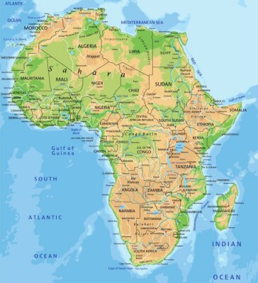 Fototapeta High detailed Africa physical map with labeling.