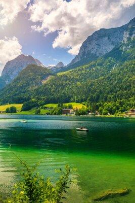 Fototapeta Hintersee lake beautiful scene of mountains and turquoise water of Hintersee lake. Location: resort Ramsau, National park Berchtesgadener Land, Upper Bavaria, Germany Alps, Europe
