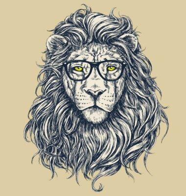 Fototapeta Hipster lion vector illustration. Glasses separated.
