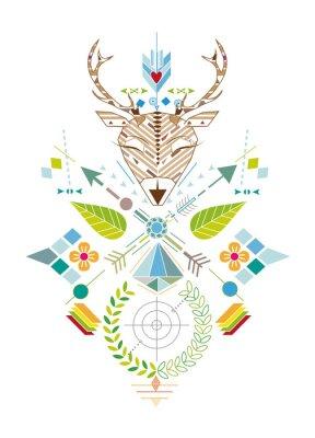 Fototapeta Hirschjagd - Grafisches Muster mit Hirschkopf, Zielscheibe, Pfeile Blatter und Blüten