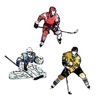Fototapeta hokej na lodzie graczy wektorowe ilustracje