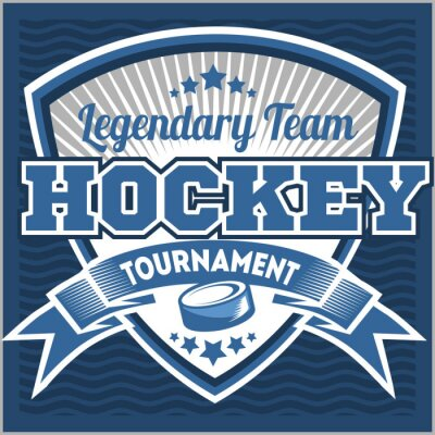 Fototapeta Hokej na logo zespołu szablonu. Godło, szablon logo, t-shirt projektowania odzieży. Sport plakietka na turnieju lub mistrzostwach
