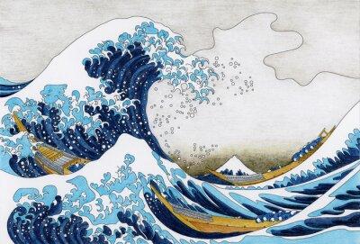 Fototapeta Hokusai Wielka fala dorosłych Kanagawa strona kolorowania
