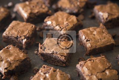 Fototapeta Homemade Gooey Double Chocolate Brownies