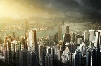 Fototapeta Hong Kong wyspa od szczytu Victoria