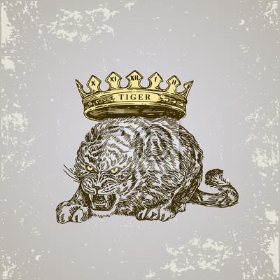 Fototapeta Horoskop Chiński Tygrys Szkic Tatuaż Ilustracji Wektorowych