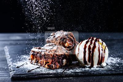 Fototapeta hot chocolate brownie dessert ice cream ball and slice of chocolate cake