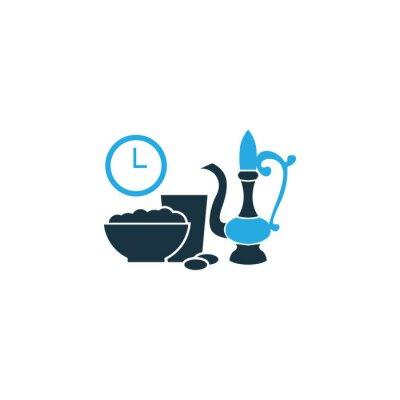 Fototapeta Iftar Kolorowe Ikona Ikona. Wysokiej Jakości Pojedyncze Posiłek Zjedz Element W Trendy Style.