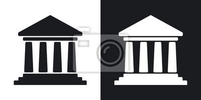 Fototapeta Ikona budynku banku Vector. Wersja dwutonowa na czarnym i białym tle
