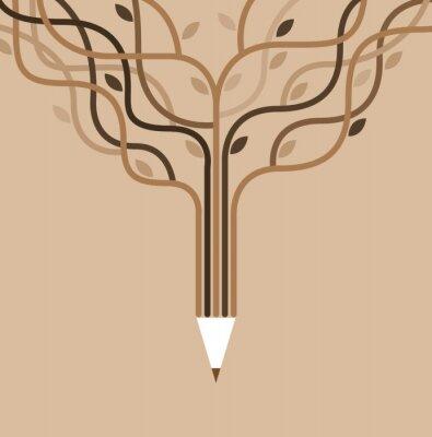 Fototapeta ikonami edukacji i sztandarem ołówkiem.