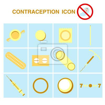Fototapeta ikony antykoncepcja ustawić, antykoncepcyjne