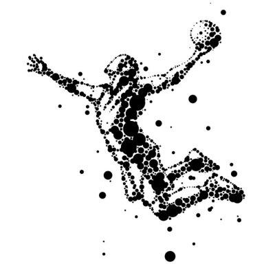 Fototapeta Ilustracja abstrakcyjna koszykarz w skoku