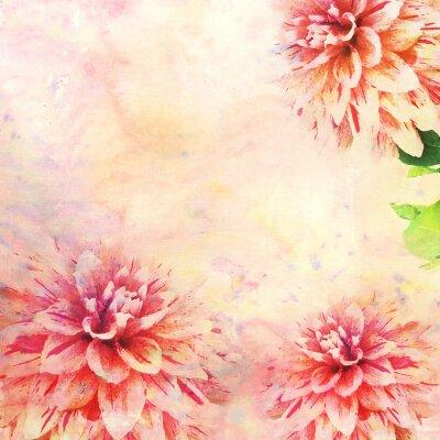 Fototapeta Ilustracja akwarela kwiatowy motyw