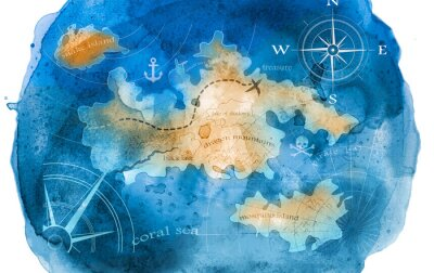 Fototapeta ilustracja akwarela skarb mapę