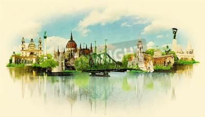 Fototapeta Ilustracja Akwarele widoku BUDAPEST