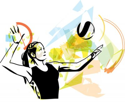 Fototapeta Ilustracja do siatkówki gracza gry
