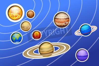 Fototapeta Ilustracja drawed układu słonecznego z linii na niebieskim tle